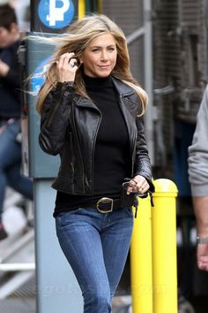Love this look...Black Cropped Leather Jacket, Black Turtleneck.