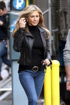 Love this look...Black Cropped Leather Jacket, Black Turtleneck.