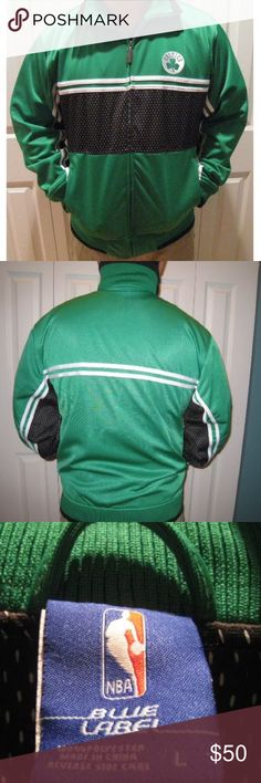 NWT BOSTON CELTICS Men's Jacket - L MSRP $90 NWT BOSTON CELTICS BASKETBALL Men's Track Jacket - L  MSRP: $90  Style: Track Style Jacket Size: L  Detailed Description of Jacket:  •Green, Black & White Celtics Jacket - 100% polyester •Made by UNK: Official NBA Licensed Product •NBA Logo metal zipper pull •Two front pockets •Has Elastic sleeve ends & waist band with roll collar •A Boxston Celtic's Shamrock logo on left side of jersey  Please Note: I have 3 Large…