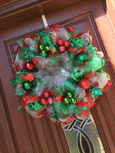 Deco Mesh Christmas Wreath in Silver Emerald by WhatsOnYourDoor Handmade Deco Mesh Christmas Wreath in Silver, Emerald green red Traditional Christmas Wreath, Holiday Wreath Holiday Decor
