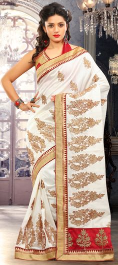 155865: White and Off White color family Saree with matching unstitched blouse.