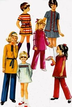 Vintage 1970s Girls Mini Dress, Tunic Top and Pants Sewing Pattern Simplicity 9093 Retro 70s Pattern Size 10 Breast 28.5 by sandritocat on Etsy