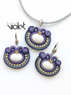 Dark Night Soutache Jewelry Set by Violetbijoux on Etsy, $79.00