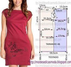 Passo a passo construção molde de vestido. O molde encontra-se no tamanho 46. A ilustração do molde de vestido não tem valor de costura.
