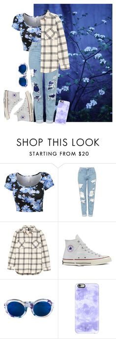 """""""Blue"""" by kookiesantana on Polyvore featuring Topshop, Converse, Linda Farrow, Casetify, Blue and casualoutfit"""