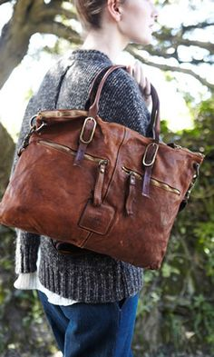 Handmade in Italy. Gorgeous brown tote.