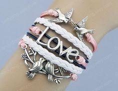 Silver love Infinity Birds  Branch  Anchor Bracelet by Colorbody, $10.29