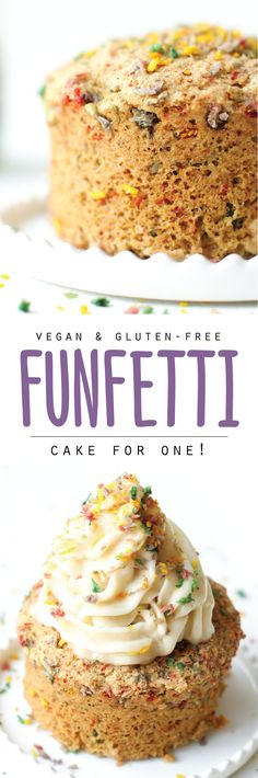 Funfetti Mug Cake (vegan, gf, oil-free) | It doesn't have to be your birthday to have cake, ice cream, and sprinkles when it's healthy and easy. It's a party for one in minutes!
