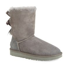 Women's Ugg 'Bailey Bow Ii' Boot ($205) ❤ liked on Polyvore featuring shoes, boots, grey suede, gray shoes, grey ankle boots, bow boots, lined ankle boots and gray bootie