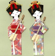 JAPANESE GEISHA IN KIMONO WITH SHAMISEN ORIGAMI PAPER DOLL CARD TOPPER (SET OF 2)