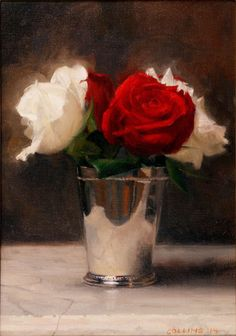 Jacob Collins - Red and White Roses in a Silver Cup   1stdibs.com
