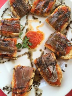 Anchovies on toast,served on Churchill Profile collection, Juanito Juan, Malaga, Spain