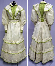 Young lady's ensemble, 1900. Cream and olive green print with chartreuse silk trim. svpmeow1/ebay