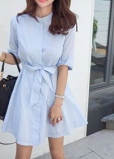Summer Dress Bow Cotton Striped Shirt buttons Korean Style Woman's Dresses