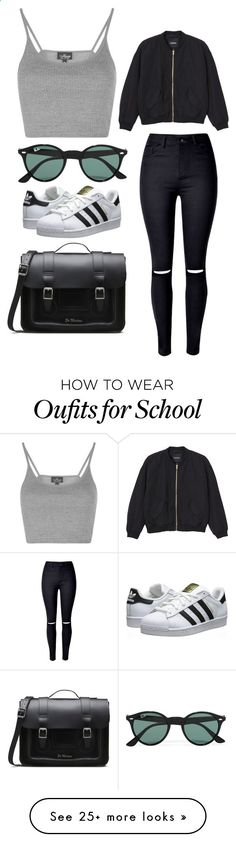 School by april-baby123 on Polyvore featuring Topshop, WithChic, Monki, Dr. Martens, adidas Originals and Ray-Ban