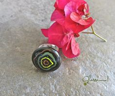 Hand Painted Fused Glass Fashion Ring by Glassimo on Etsy