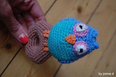 crochet baby rattle, owl