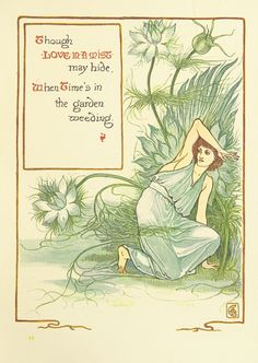 """British Library digitised image from page 91 of """"A Floral Fantasy in an Old English Garden. Set forth in verses & coloured designs"""" Walter Crane, Fairy Wands, English Artists, Floral Prints, Art Prints, Flower Fairies, British Library, Old English, Nursery Art"""