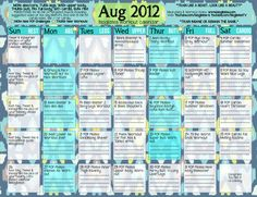 August 2012 Blogilates Workout Calendar