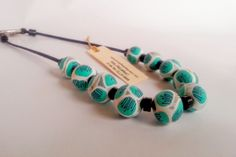 Beaded Blue For You; polymer clay jewellery, beaded necklace, statement piece, handcrafted jewellery by Loughfernstudios on Etsy