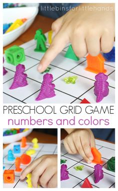 Homemade Preschool Numbers and Colors Grid Game