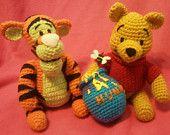 NERD DOLLZ Tigger and Winnie  the Pooh, Amigurumi Crochet doll, Handmade,Unique, a Must Have