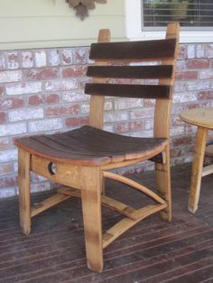 Dining chair made from oak Wine Barrel Staves. Red wine stain shown on seat and back. This chair is very solid and comfortable. Shipping cost is extra. Before placing an order please send email with Zip code to determine shipping charges. Bourbon Barrel Furniture, Wine Barrel Chairs, Wine Barrels, Wine Barrel Diy, Barris, Barrel Projects, Rustic Furniture, Furniture Design, Dining Chairs