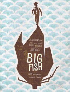 Big Fish, by Tim Burton Big Fish Movie, Love Movie, Norman Rockwell, Minimal Movie Posters, Cinema Posters, Poster Art, Movies Worth Watching, Fantasy Films, Film Base