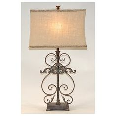 French Country scroll table lamp