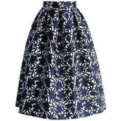 Chicwish Navy Floral Embossed Midi Skirt