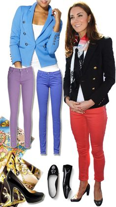 Inspired by Kate Middleton's refined sporty fashion. How to pair brightly coloured jeans with blazers and high heels.