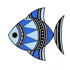 Blue Fish by Archa Malhotra Blue Fish by Archa Malhotra Ancient Indian Art, Indian Folk Art, Madhubani Art, Madhubani Painting, Worli Painting, Watercolor Paintings, Folk Art Fish, Fish Artwork, Art Drawings For Kids
