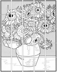 Van Gogh Sunflower Mural · Art Projects for Kids - Kunstunterricht Collaborative Art Projects For Kids, Group Art Projects, School Art Projects, Desenhos Van Gogh, Van Gogh For Kids, Van Gogh Arte, Van Gogh Sunflowers, Art Worksheets, Ecole Art