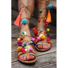 "Tie up gladiator sandals ""Penny Lane'' (handmade to order) + Boho + Gypsy + Resort Boho Fashion, Street Fashion, Fashion Shoes, Womens Fashion, Hijab Fashion, Colorful Fashion, Fashion Trends, Runway Fashion, Fashion Design"