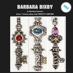 New Barbara Bixby Silver 18K Gold Blue Topaz Key Pendant Enhancer - **VIDEO…