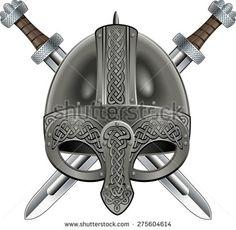 viking helmet with crossing swords - stock vector