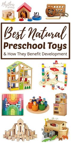 Best Natural Toys for Preschoolers & How They Benefit Development! Quality eco-friendly preschool toys made of natural materials such as wood, wool, silk, and organic. Preschool Learning Toys, Educational Toys For Preschoolers, Best Educational Toys, Montessori Education, Montessori Toys, Montessori Bedroom, Montessori Toddler, Baby Education, Learning Games