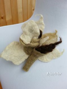 FLOWER brooch pin and clip of felted leaf green natural white and brown wool, handmade, hat, scarf, bag flower adornment, original ornament by LanAArt on Etsy