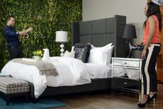 """Yanic Simard gives Tracy Moore of Cityline some useful tips to switching up the classic bedroom look. He says using an bed for his presentation fit perfectly into his initial idea, because it gave him the """"best sleep ever"""" Fall Bedroom, Bedroom Retreat, Best Bedding Sets, Natural Bedding, Big Windows, Cozy Bed, Headboards For Beds, Luxury Bedding, Interior Design"""