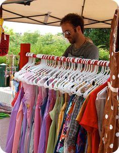 DIY portable clothing rack (great for flea market or yard sale)