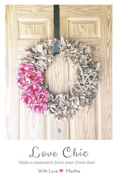 Valentine's Day Wreath, with pink silk roses, faux burlap ribbon and heart with gold glitter. 20 inches.