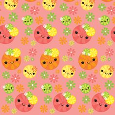 Kawaii Citrus - Peach fabric by boredinc on Spoonflower - custom fabric