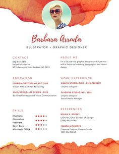 Orange Graphic Designer Resume