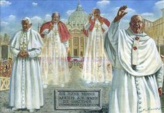 Love this poster of 4 holy Popes... two of them saints! St. Pope John Paul II and St. Pope John XXIII... so awesome!