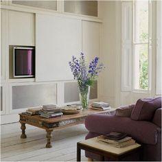 sliding panel for hiding tv housetohome