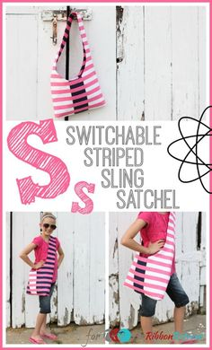"""Switchable Striped Sling Satchel {A-Z Series, """"S""""}"""