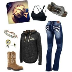 A fashion look from August 2017 featuring realtree hoodie, frayed-hem jeans and NIKE. Browse and shop related looks. Cowgirl Style Outfits, Country Style Outfits, Southern Outfits, Country Girl Style, Country Fashion, Preppy Outfits, Western Outfits, Cute Outfits, Fashion Outfits