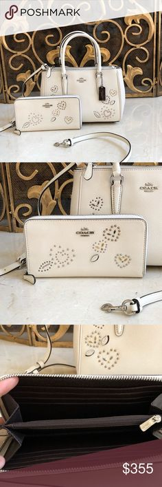 NWT coach Studs Floral Mini Surry Satchel&wallet Guaranteed authentic Brand new with tags Bundled set handbag&wallet Coach Bags Satchels Coach Handbags, Coach Bags, New York Bridge, Studs, Satchel, Fashion Design, Fashion Trends, Wallet, Mini