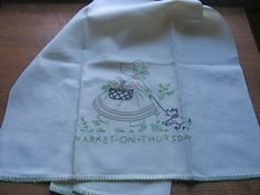 Vintage 1940s Embroidered Linen Towel Market on by chameleonCMC, $15.00