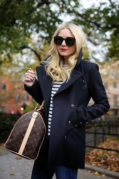 Navy peacoat + striped top + Louis Vuitton bag
